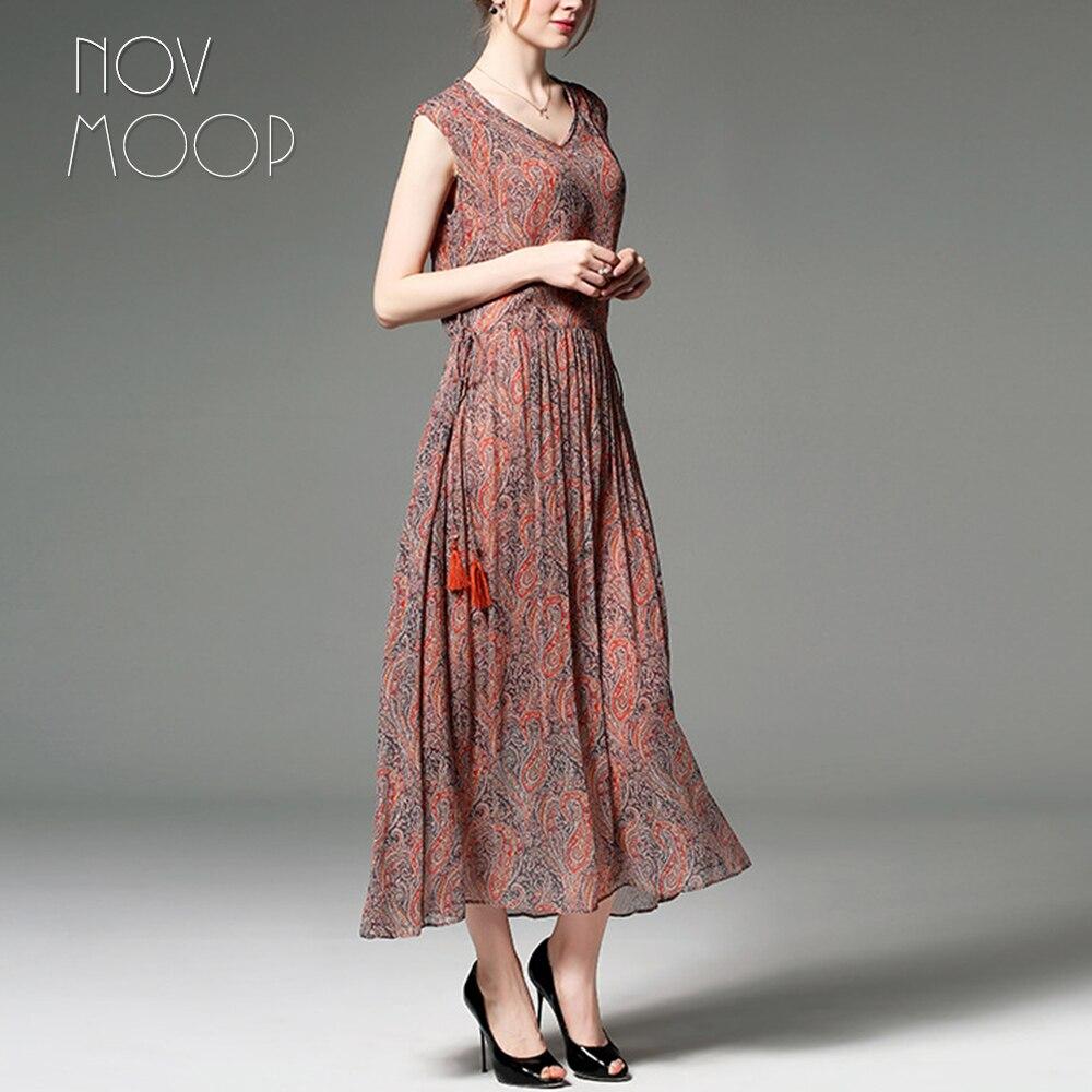 Летнее женское оранжевое синее платье с принтом пейсли из натурального шелка с v образным вырезом и галстуком на талии, пляжный сарафан трап... - 4