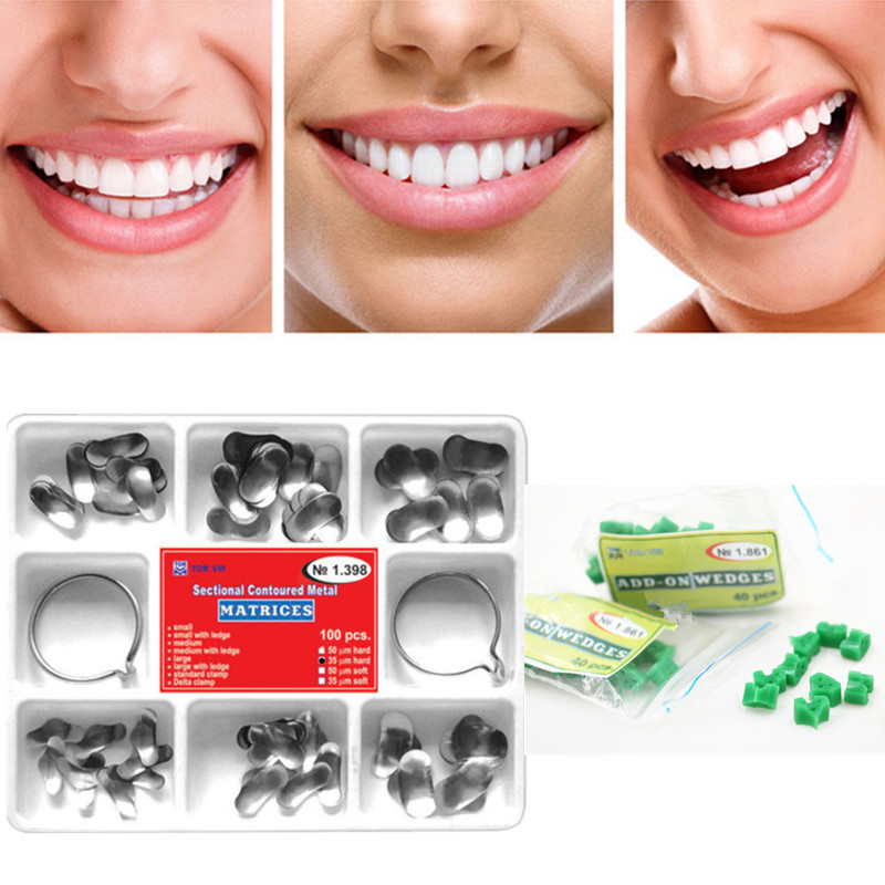 Dental 100Pcs Sectional Contoured Matrices Matrix Ring Delta1.398 + 40pc Add-On Wedges NO.1.861