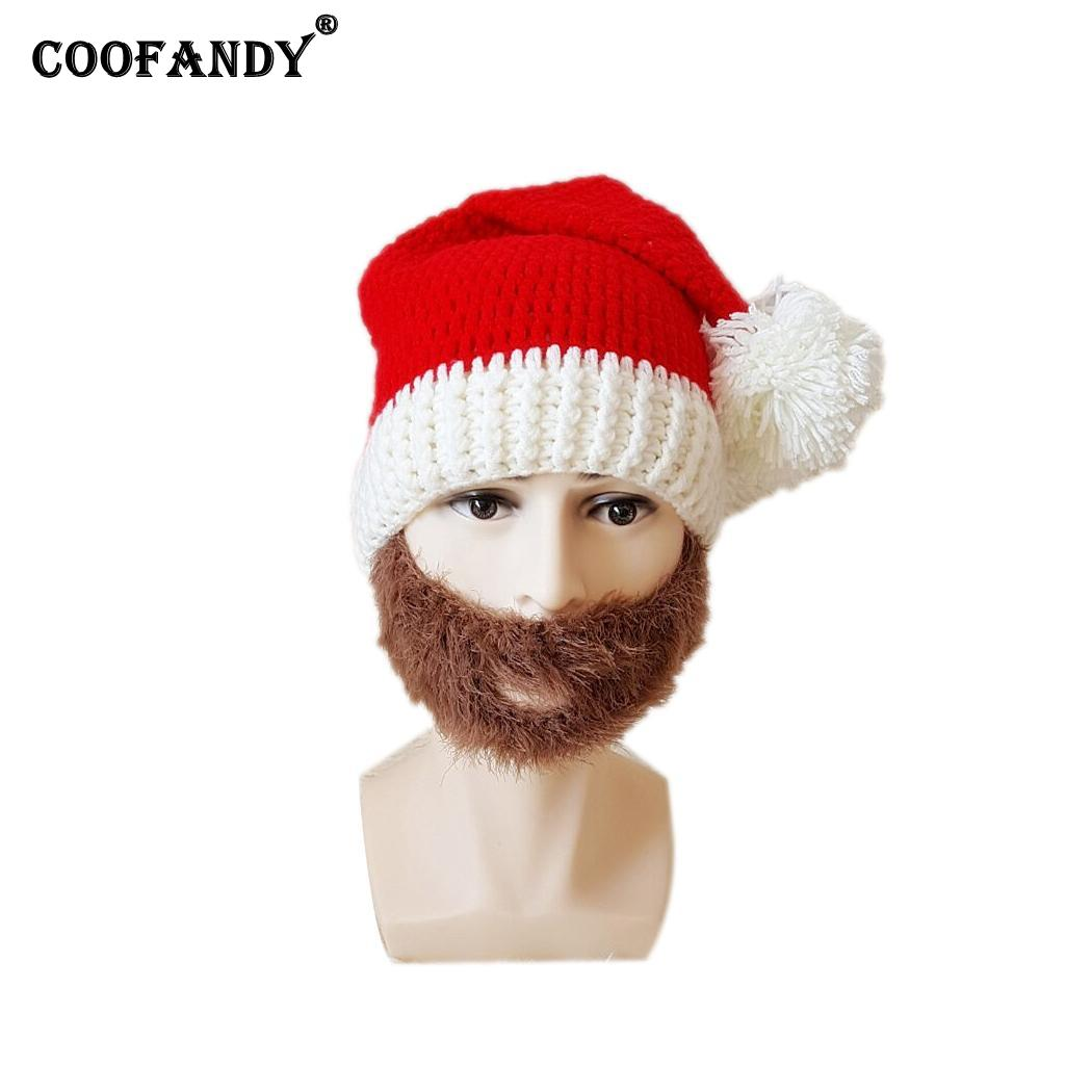 Unisex Adult Fashion Winter Warm Cute Patch Red White, Red Brown Knitted Beanie Casual Cap(China)