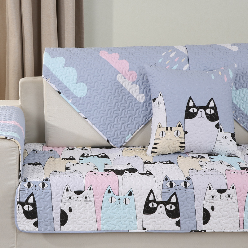 Lovely Cats Cotton Sofa Towel Slipcover Sectinal Sofa Cover Anti-Slip Furniture Protector For Living Room 1 Piece
