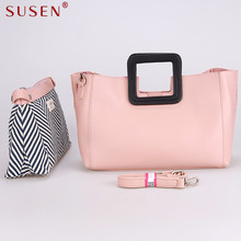 SUSEN 7009 high quality Tote Women top leather Handbag shoulder bag panelled clutch wallet purse soft