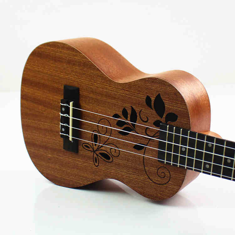 Concert Ukulele 23 Inch Elektrische Gitaar 4 Strings Ukelele Guitarra Mahonie Handwerk Hollow Out Bloemen Muziekinstrumenten Uke Jade Wit