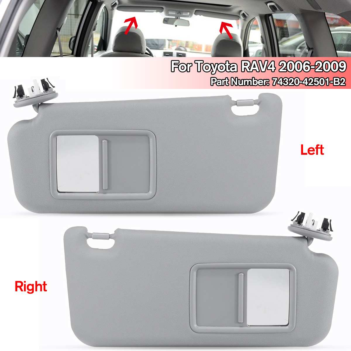 NEW 1PCS Left/Right Car accessories Gray Beige <font><b>Sun</b></font> Visor with Make-up Mirror and Screws For Toyota RAV4 2006-2009 74320-42501-A1 image