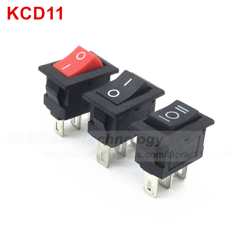 10pcs/lot Delicate Rocker Switch KCD11 10 * 15 mm AC 250V 3A 2 3 Pin Red Black ON/OFF I/O SPST Snap in Mini Boat,Free shipping 5 pieces lot ac 6a 250v 10a 125v 5x 6pin dpdt on off on position snap boat rocker switches