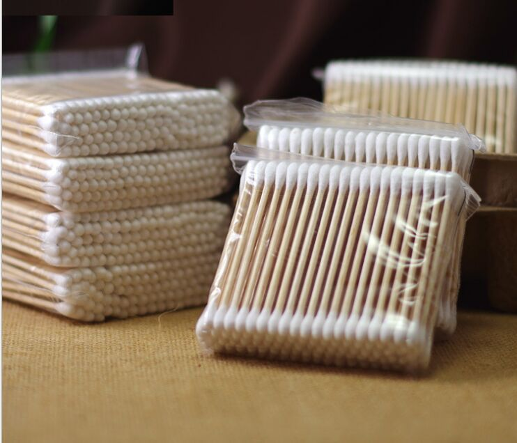 10X100PCS Q-tips Cotton Swabs Double Tip Wooden Stick Cotton Swabs/Cotton Buds/Ear Buds Qtips, Free Shiping