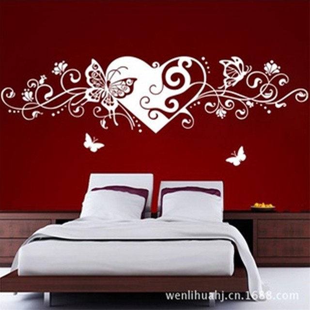 Romantic Heart Butterfly Decoration Wall Sticker Adesivo De Parede Deco Maison Love Wallpaper Home Decoration Accessories Modern