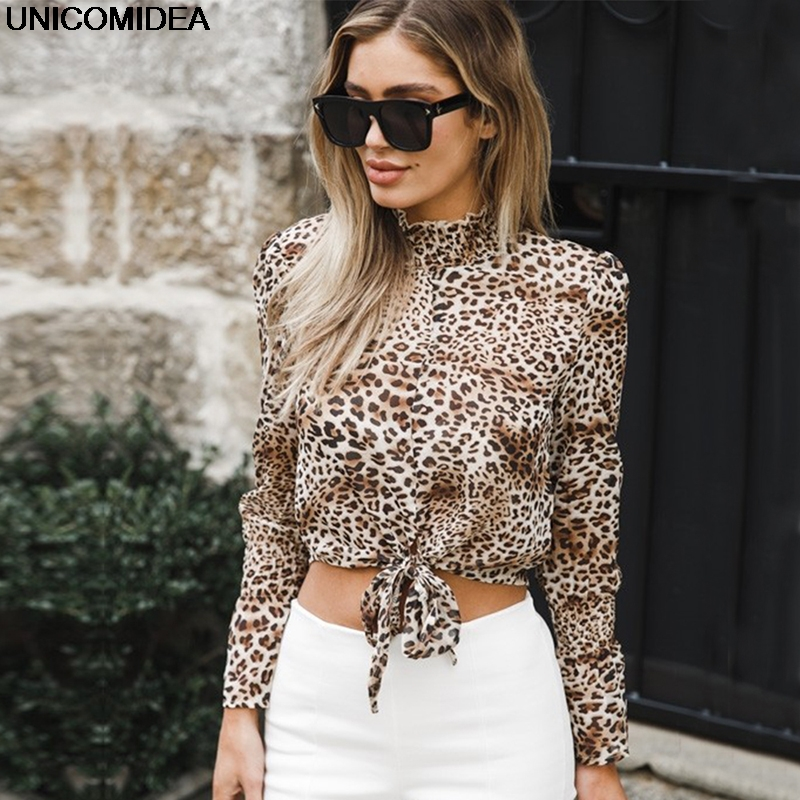 Leopard Print Long Sleeve Chiffon Loose Blouses Shirt