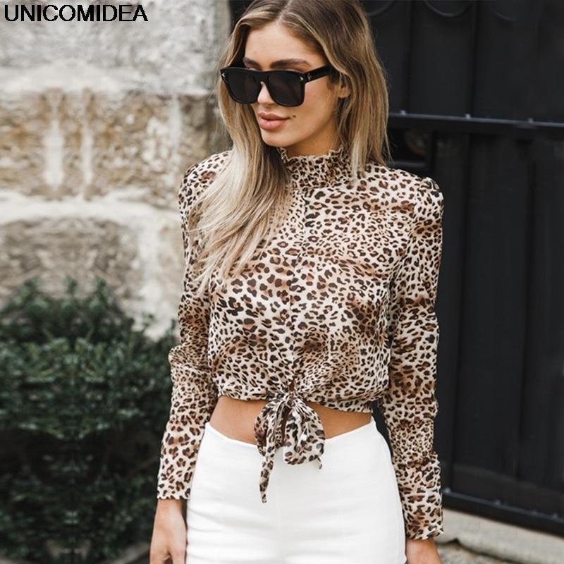 Sexy Women Tops Blouses Leopard Print Long Sleeve Chiffon Loose Blouses Shirt Camisa Feminina Blusas Chemise Femme Autumn Tops