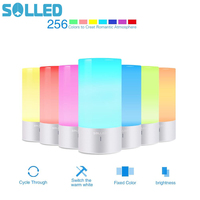SOLLED LED Table Lamp Touch Sensor Bedside Lamp Dimmable Warm White Light 256 RGB Color Changing