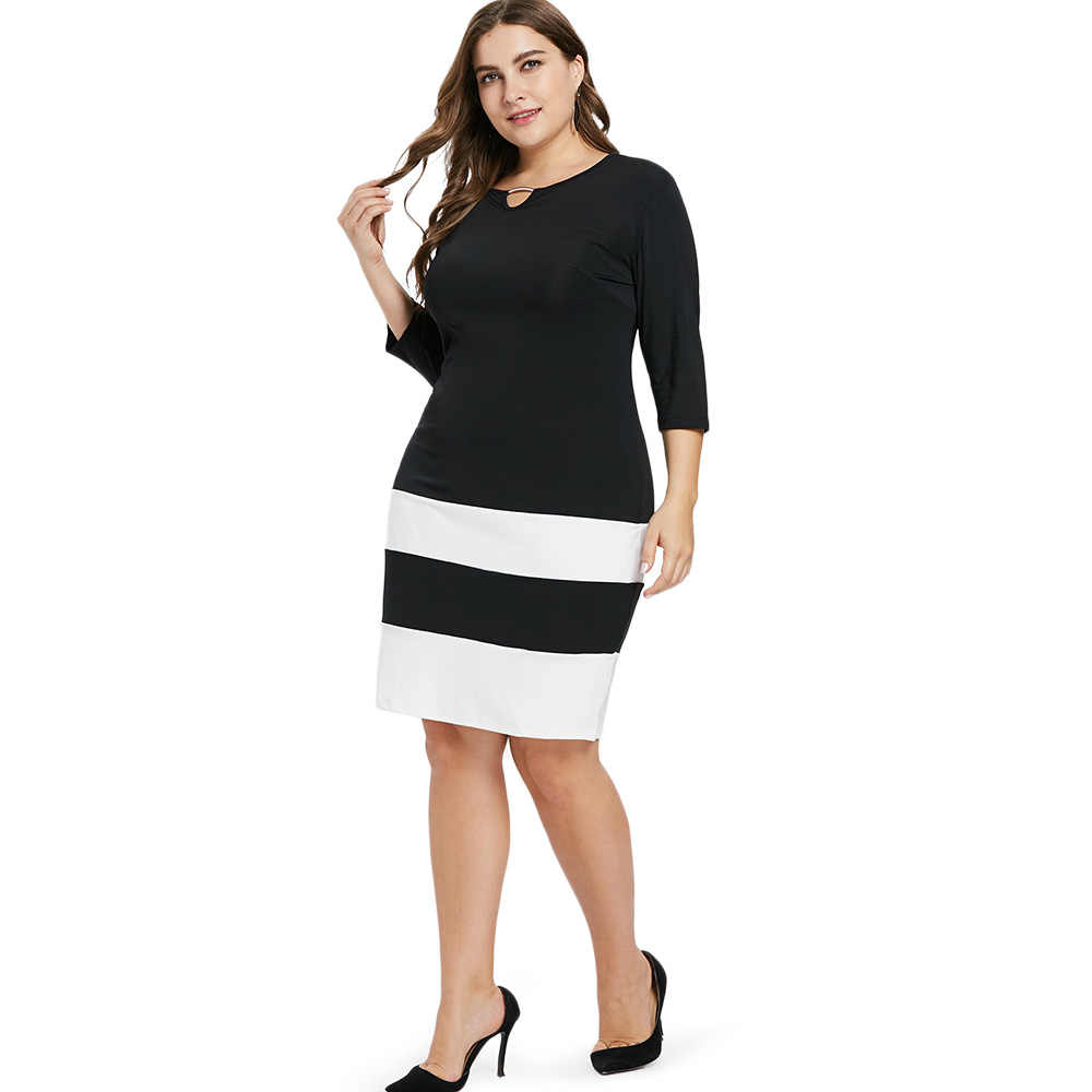 69de6d42c07 ... AZULINA Plus Size Two Tone Striped Dress Women Sheath Keyhole Neck 3 4  Sleeves Patchwork ...