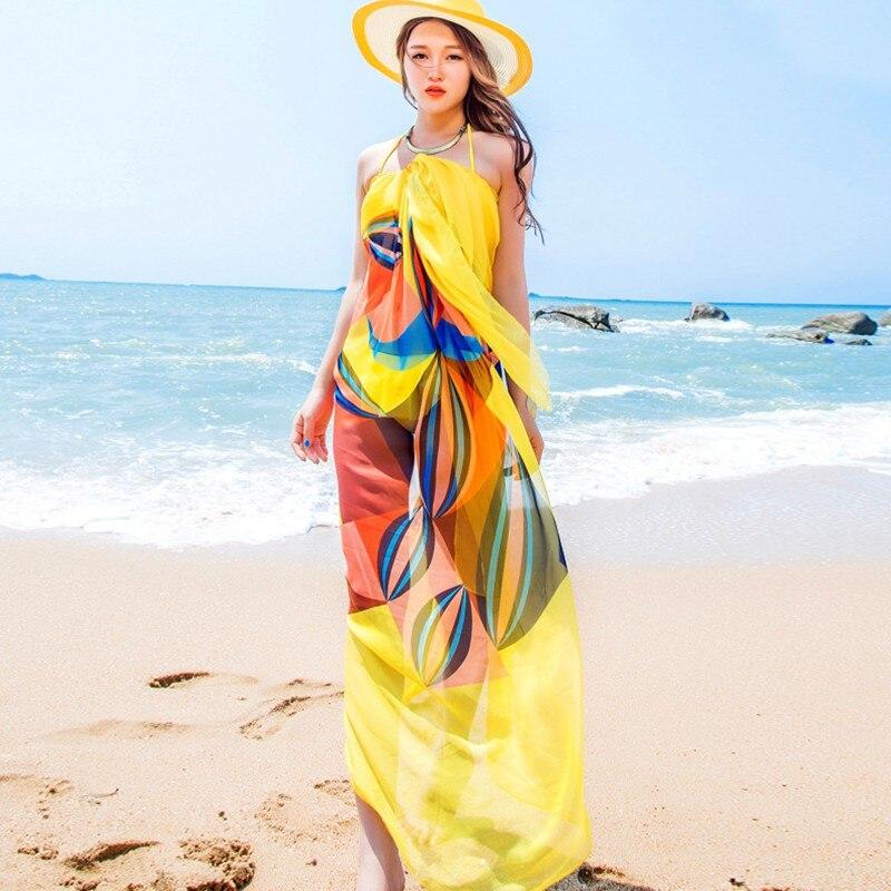2019 New 140x190cm Pareo Scarf Women Beach Sarongs Beach Cover Up Summer Chiffon Scarves Geometrical Design Plus Size Towel