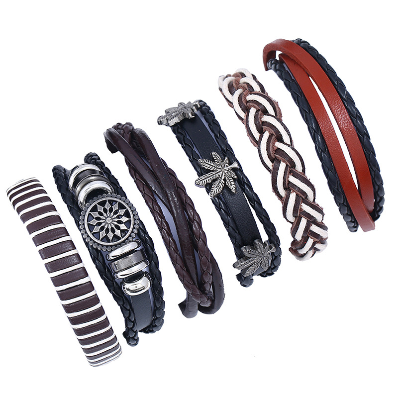 6Pcs/Lot Punk Genuine Leather Bracelets Set for Men Charms Bracelet Male Braslet Femme Pulseira Women Turkish Jewelry2018