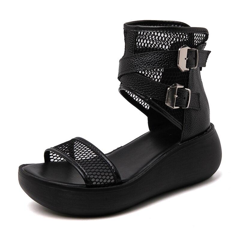 Taille 34-40 sandales à semelle épaisse été romain chaussures à semelles compensées en cuir véritable boucle en maille à bout ouvert Sandalias Plataforma femmes