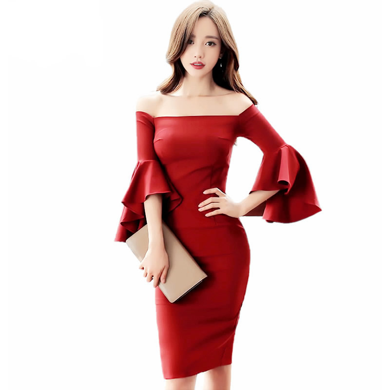 Women Sexy Party Dress Autumn Strapless Flare Sleeve Bodycon Sheath Pencil Midi Vestidos Solid 3 Colors Cloth