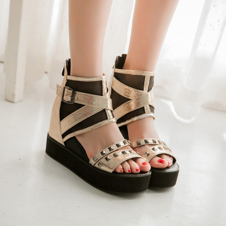 c051342a1a3 Item Type  Sandals Pattern Type  Solid Insole Material  PU Style  Punk Heel  Type  Height Increasing Sandal Type  Gladiator Back Counter Type  Cover Heel