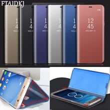 FTAIDKJ Plating Mirror Case For iPhone XS Max XR X 7 8 Plus 6 6S Luxury Leather PC Flip Phone Clear View Stands