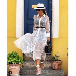 Image 5 - נשים Mesh Sheer שקוף מנוקדת תחרה לחפות V צוואר כפתור למטה מקסי שמלה שקופה מסיבת Clubwear חוף שמלה