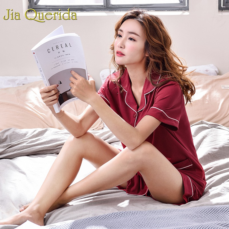 J&Q Women Pajamas 2019 Sleepwear Elegant Lingerie Woman Home Clothes 100% Cotton Solid Short High Quality Brand Summer Shorts