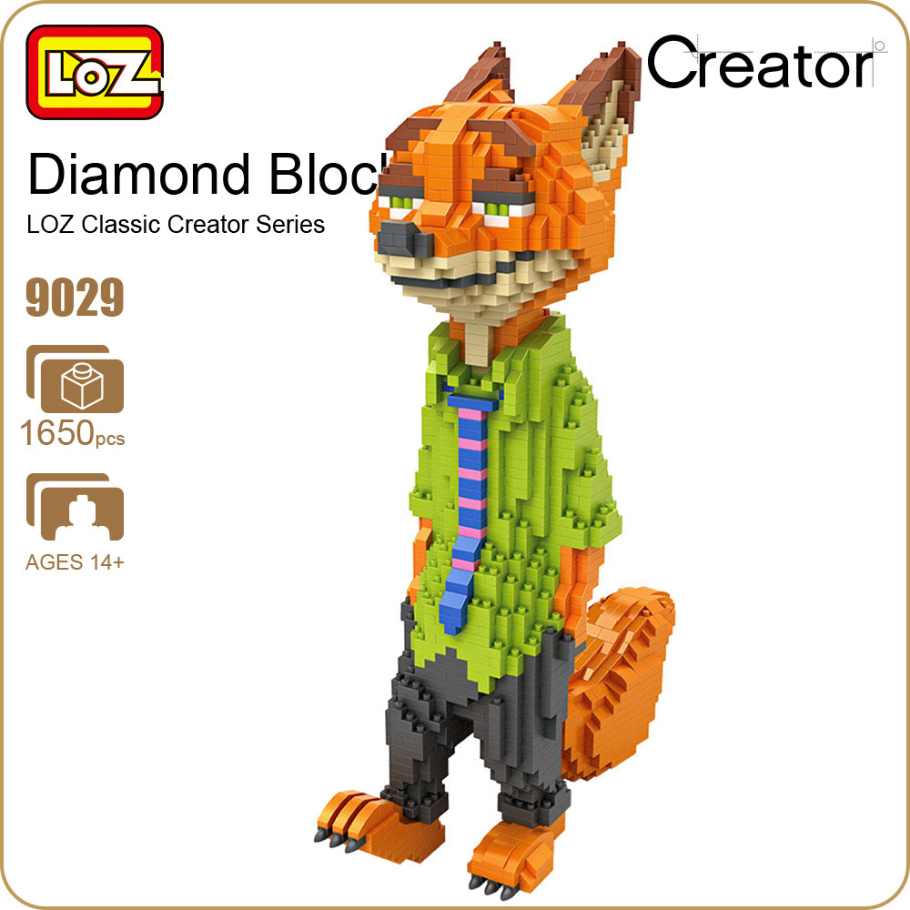 LOZ Diamond Blocks Animal Action Figures Zoo Model Cartoon Fox Anime Figurine Building Blocks Assembly Toys Educational DIY 9029 child early educational toys alice board cartoon animal zoo wood blocks hand crafted brain teaser candy color gift for boy girl