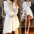 4xl más el tamaño grande de las mujeres ropa vestido coreano 2016 primavera vestidos otoño flojo blanco negro camisas de vestido largo femenino A0873