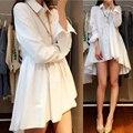 4xl mais mulheres tamanho grande roupas vestido coreano 2016 primavera vestidos outono soltas camisas brancas pretas vestido longo feminino A0873