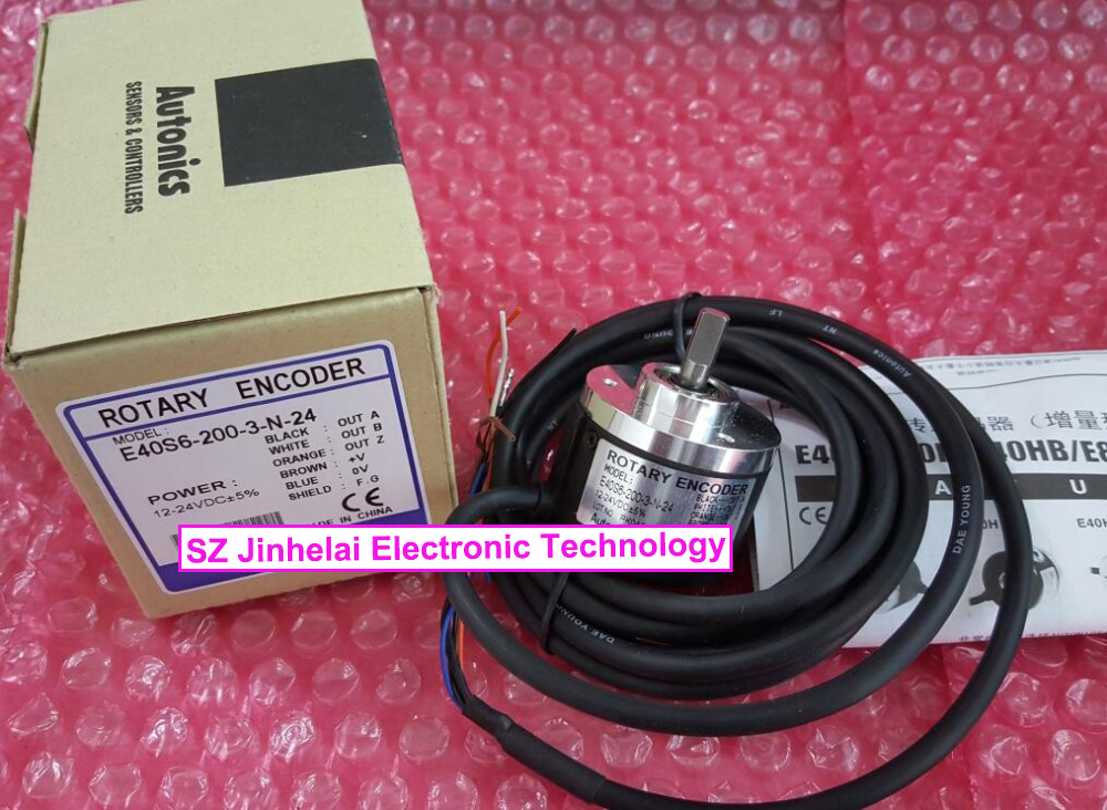 New and original E40S6-200-3-N-24 Autonics INCREMENTAL ROTARY ENCODER rotary encoder e40hb8 360 3 n 24