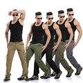 2015 Novos homens Lavados Calças de Camuflagem Militar Ao Ar Livre de Carga Calças de Brim 5 Cores Plus Size Roupas dos homens da Marca