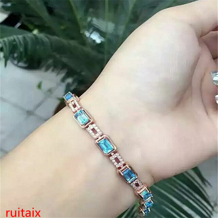 KJJEAXCMY fine jewelry 925 pure silver with natural blue square topaz bracelet jewelry gold color. kjjeaxcmy fine jewelry 925 pure silver with natural blue topaz bracelet jewelry gold and silver color