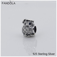 CKK Authentic 925 Sterling Silver Jewelry Owl Silver Charm With Blue Crystal And CZ Charms Beads