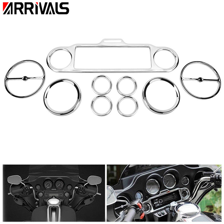 Chrome Stereo Accent Speedometer Speaker Trim Ring set Cover For Harley Touring Harley Touring Electra Street Glide 1996-2013 scooter parts 8pcs chrome speedometer gauges bezels and horn cover case for harley davidson touring free shipping