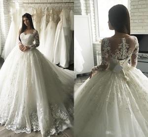 Image 3 - Nowa Gorgesous długa suknia balowa z rękawami koronkowe suknie ślubne luksusowa letnia sukienka 2020 suknia ślubna vestido De Noiva szata de mariee