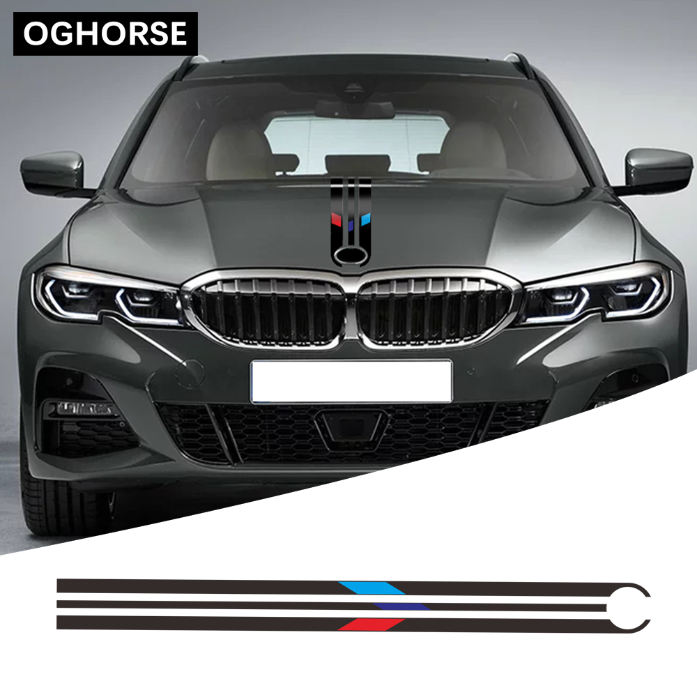 For <font><b>BMW</b></font> F20 F22 F30 F32 F10 G30 G20 E60 E46 <font><b>E90</b></font> Z4 X3 X4 X5 X6 Car Hood Bonnet Racing Stripes Line Decal <font><b>Engine</b></font> <font><b>Cover</b></font> Sticker image