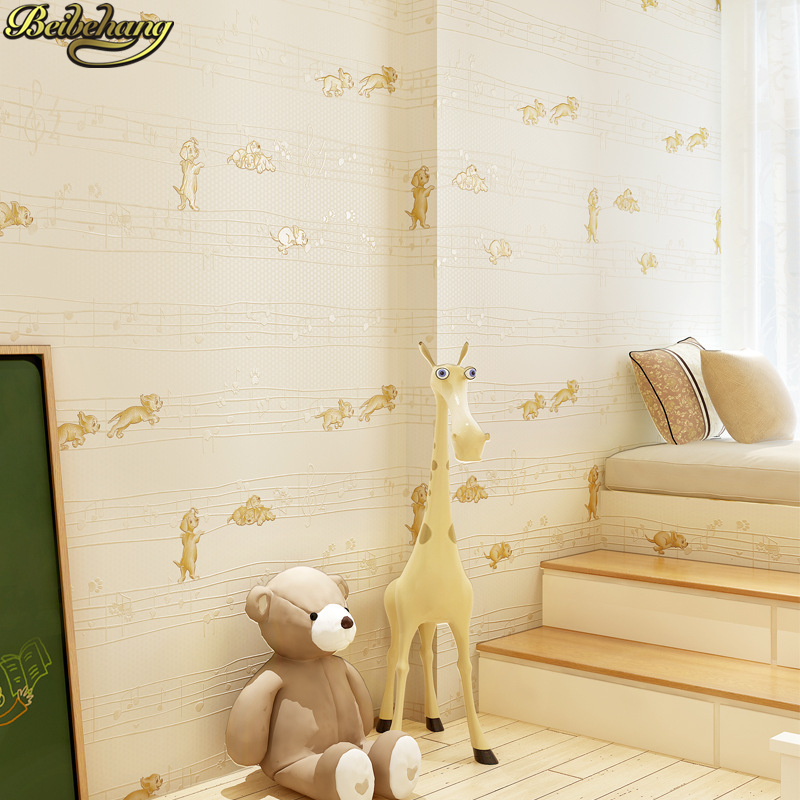 beibehang wall paper Fashion Cartoon Dog Kids Wallpaper for Children Room Wall Paper Roll White Pink Blue Yellow green beige beibehang wall paper pune girl room cartoon children s room bedroom shop for environmental non woven wallpaper ocean mermaid