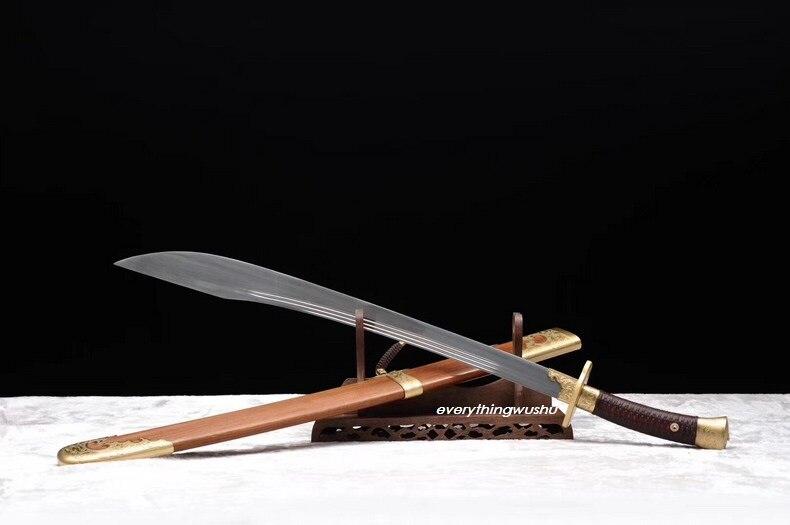 Goedhartig Lange Wushu Zwaarden Tai Chi Zwaarden Bagua Zwaarden Ox Tail Dao Compleet In Specificaties