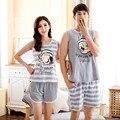 Amantes Pijamas Listras da marca de Verão Dos Desenhos Animados Conjunto de Pijama Mulheres/Homens Camisas de Algodão Conjuntos de Pijama Casal Sleepwear Casuais Homewear
