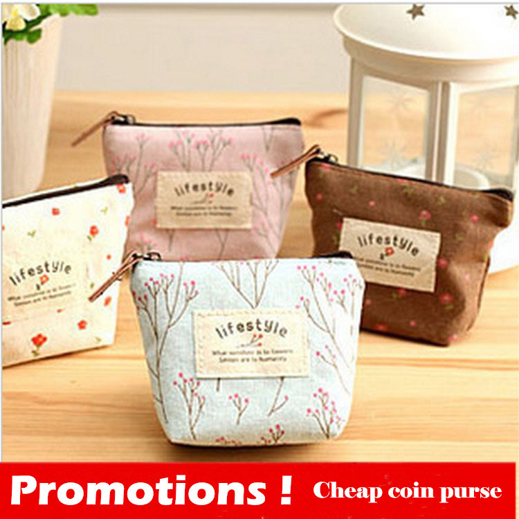 New 2015 Coin Bag Creative Flower Coin Purses Fresh Syle Key Wallets Canvas Gift Wallets Small Purse