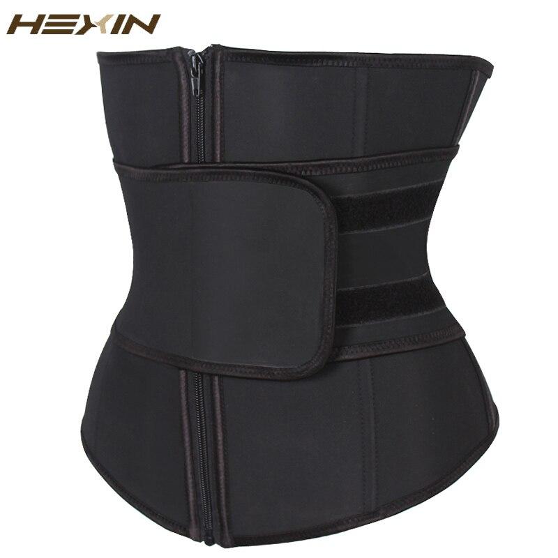 HEXIN Abdominal cinturón alta compresión cremallera más tamaño látex cintura Cincher corsé Underbust cuerpo Fajas sudor cintura entrenador