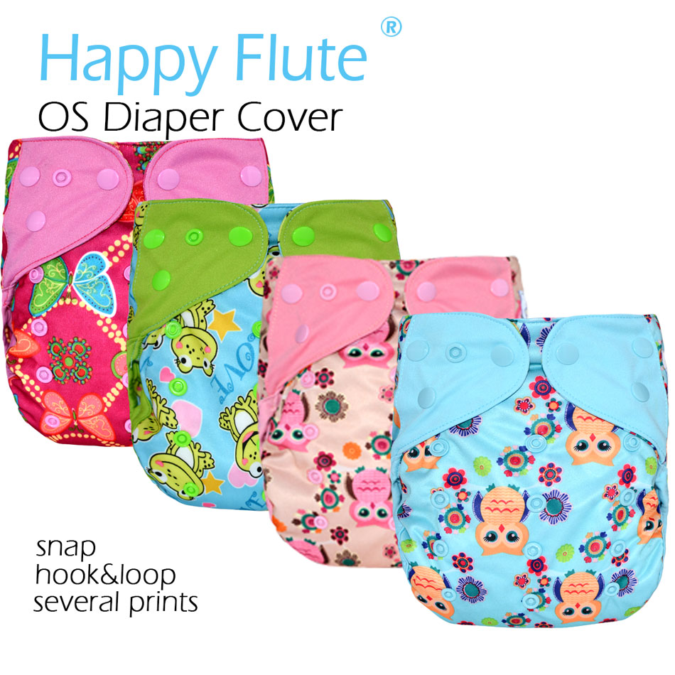 Happy Flute OS cloth diaper cover for baby,with or without bamboo insert,waterproof breathable S M& L adjustable,fit 5-15kg baby