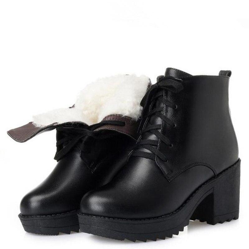 Schuhe Warme Stiefel Rindsleder Boden black Frauen Mode wolle High 2018 Winter Schnee Heels Plüsch Inside Wool Plush Neue Black Dicken Plus Größe wEI0qPx8