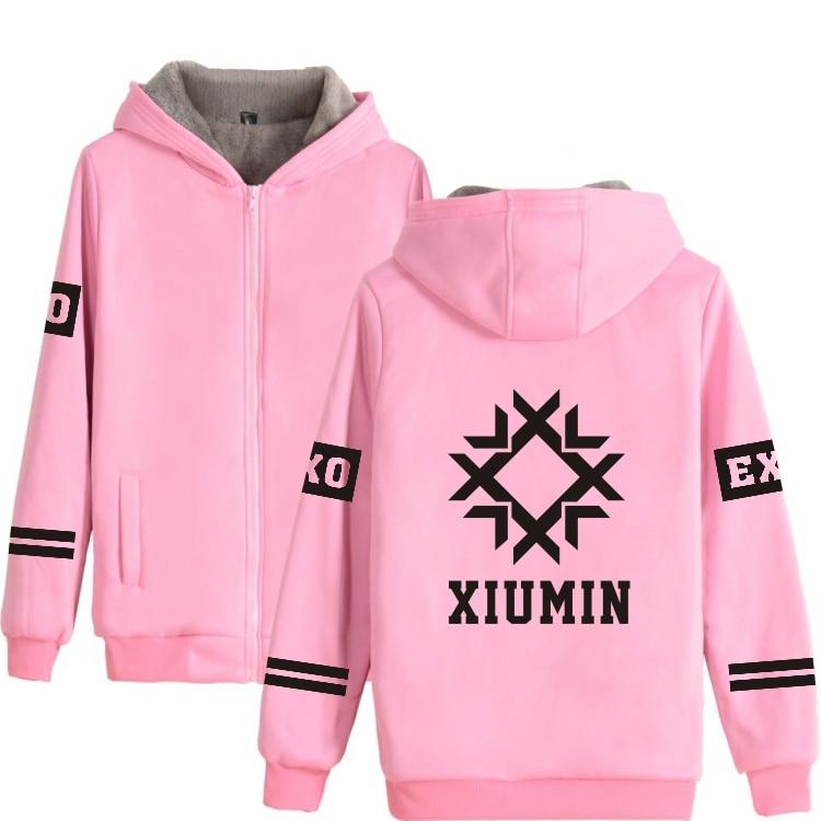 Kpop EXO Sweatshirt in Gray Pink Winter Warm Thick Cotton  Hoodies Women Zipper Korea Fashion Style Hoodie Women EXO-L clothes