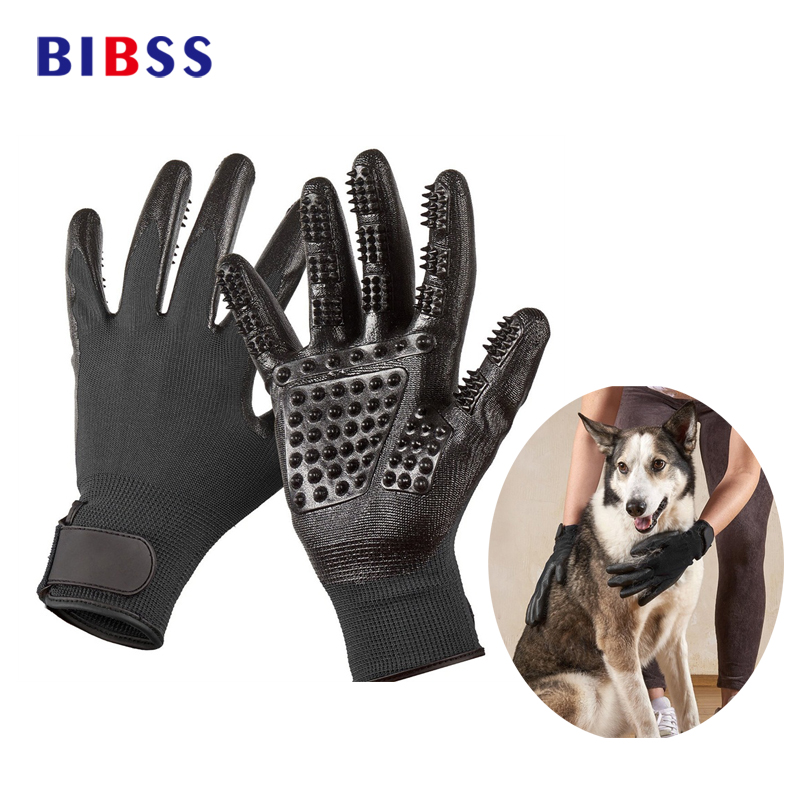 Pet Grooming Gloves Enhanced Five Finger Design Dog Cat Hair Cleaning Brush For Cats Dogs & Horses Fur Massage Grooming Gloves