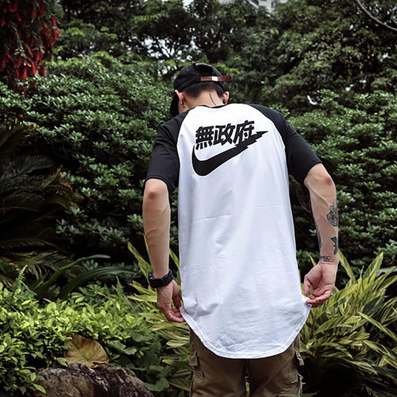 Yeezus-Anarchy-Extended-Short-T-Shirt-Kanye-West-Curved-Hem-Hip-Hop-Streetwear-Tee-Tops-Men
