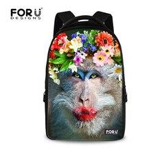 Forudesigns обезьяна животных печать женщины рюкзак, дети 15 дюймов рюкзаки для девочек-подростков, женщин большой путешествия ежедневно backbag