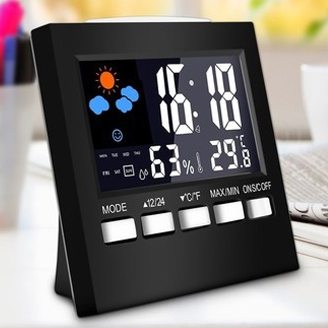 New Digital Thermometer Hygrometer Colorful LCD termometer Clock Alarm Snooze Function Calendar Weather Forecast Display digital lcd thermometer projection weather station temperature calendar display dual alarm clock usb charging function