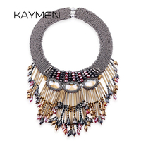 New Arrival Fashionable Tassels Crystal Necklace Good Quality Bohemia Gipsy Style Strand Knitting Statement Necklace For