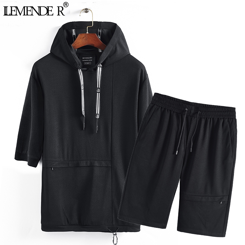 Summer Casual Mens Tracksuit Shorts Two Piece Sets Black Mens Sweat Suits Brand Men Clothes 2018 Loose Hoodie Tops + Short