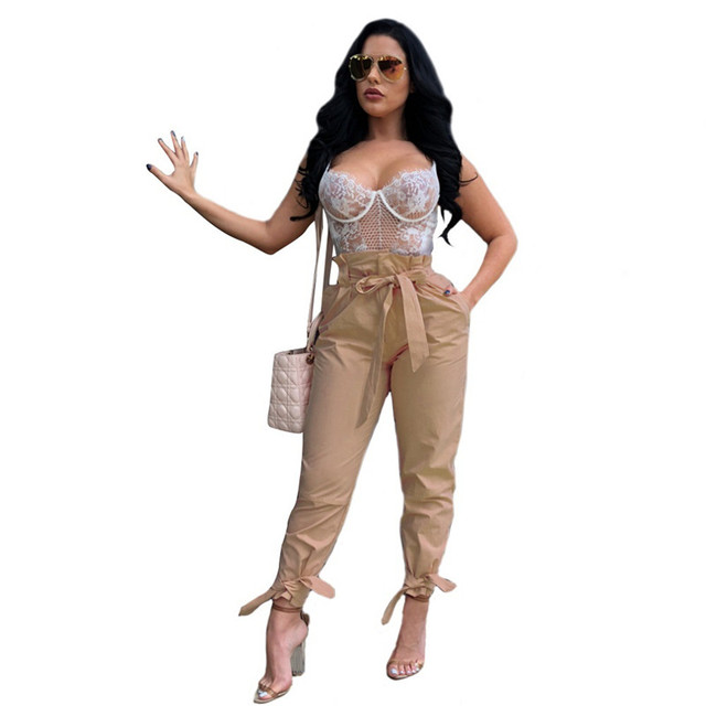 1c00a94a20 Women High Waist Pencil Pants Bow Tie Waist Pants Pockets Fashion Cropped Trousers  Ladies Casual Chic