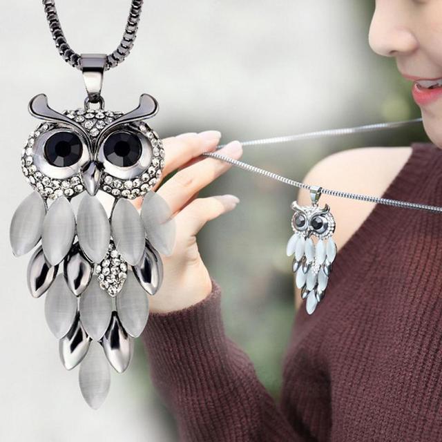 Collier femme schmuck natürliche stein aussage halskette eule frauen bijoux colares 2017 choker lange halsketten & anhänger liebe geschenk