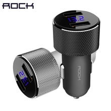 ROCK двойной зарядное устройство USB со светодиодный ным цифровым дисплеем, универсальный 3.4A 2 USB Автомобильное зарядное устройство адаптер для мобильных телефонов для планшетных ПК