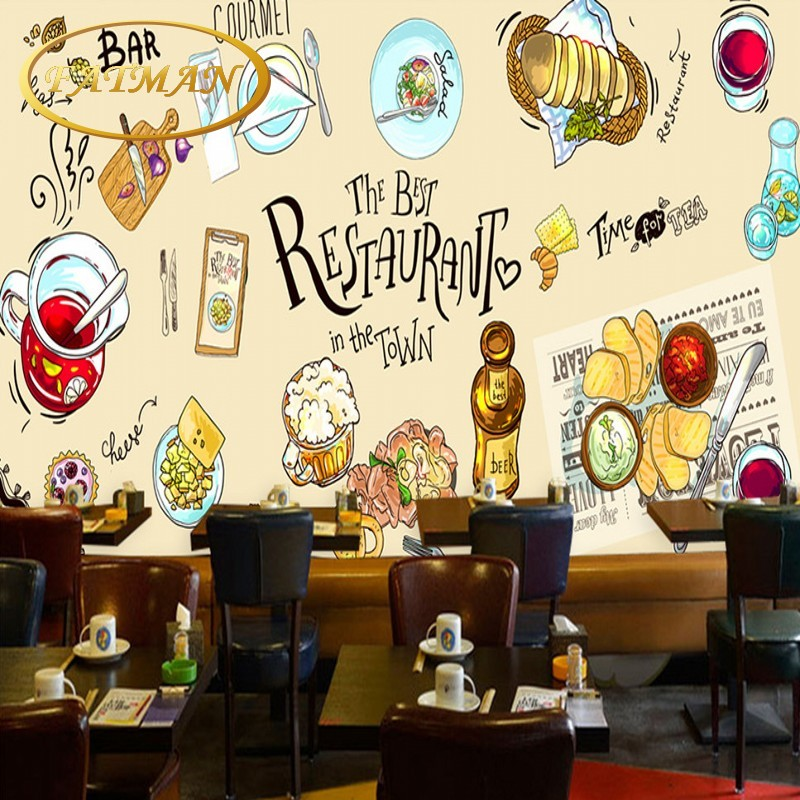 Custom Photo Wallpaper HD Hand Painted Western Restaurant Food Backdrop Mural Kitchen Wall Paper In Wallpapers From Home Improvement On